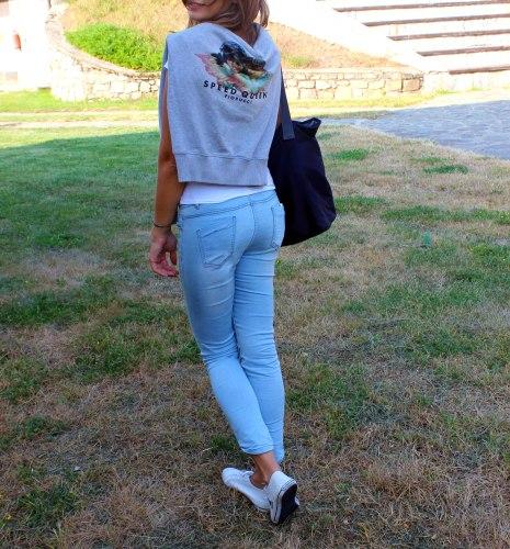 Fiorucci sweatshirt, Le coq sportif shoes, Mistral bag